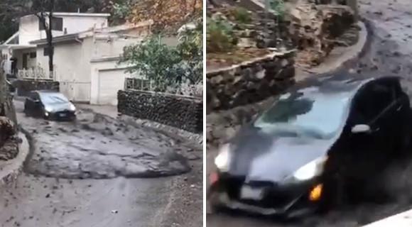 土砂と一緒に車がハイスピードで流れてきた。土石流の恐ろしさがわかる衝撃映像
