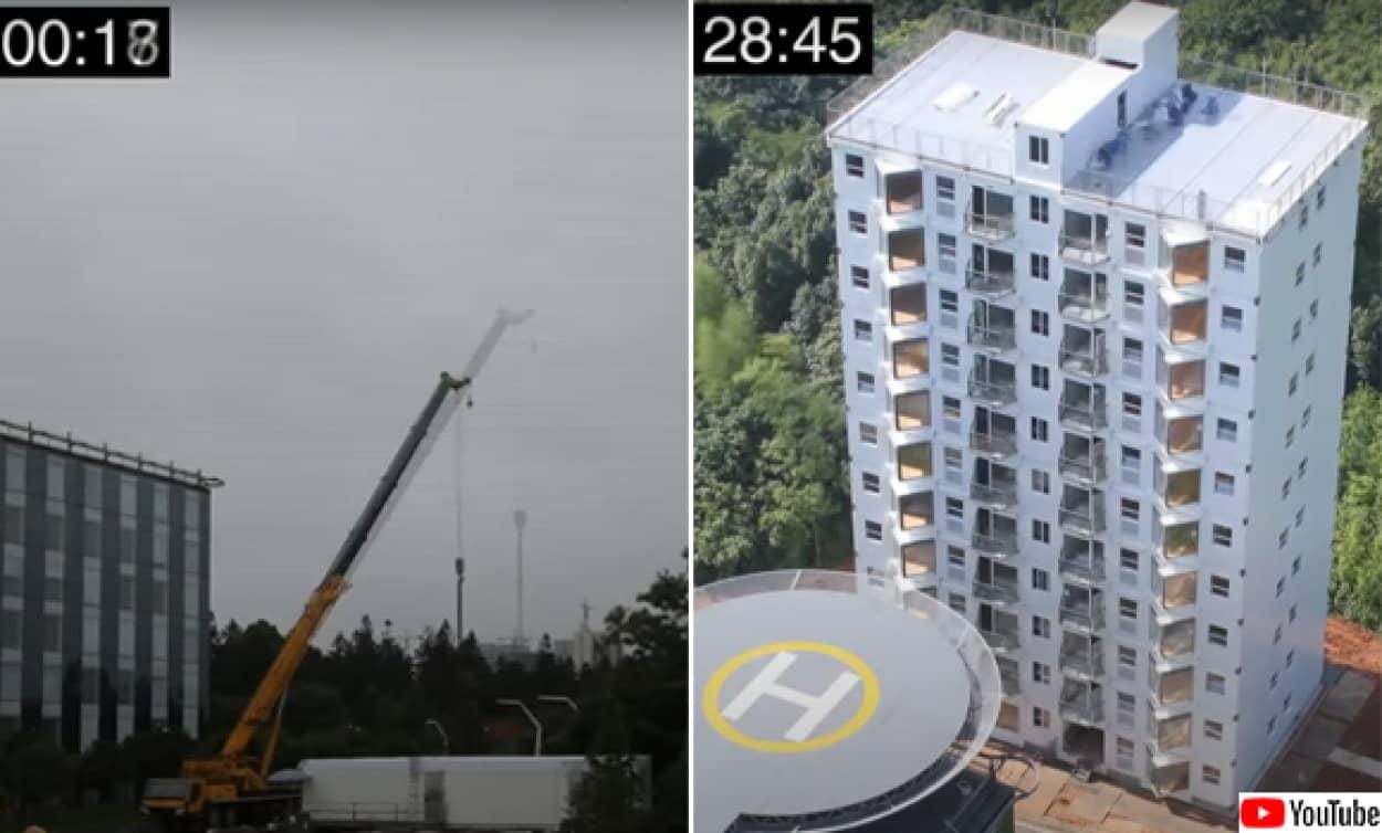 29時間で10階建てのビルが建つ爆速工事の様子を早回しで