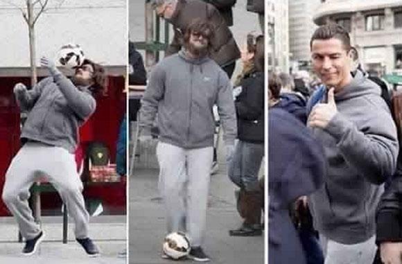 こんなどっきりを待っていた。やけにサッカーのうまいおっさんが、子供と遊んでると思ったらクリスティアーノ・ロナウドが変装していたというどっきり