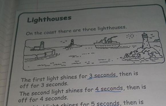 君は解けるか?8歳の子に出された3つの灯台に関する宿題に保護者困惑(イギリス)