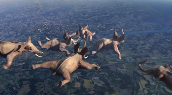 ゾウのスカイダイビング、キリンの綱渡り。夢が溢れる動物たちのアクロバットCGショートフィルム「Idents France3」