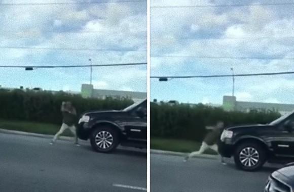 ポパイかよ!筋肉ムキムキの腕をぶん回して自動車に挑む男が目撃される(アメリカ)