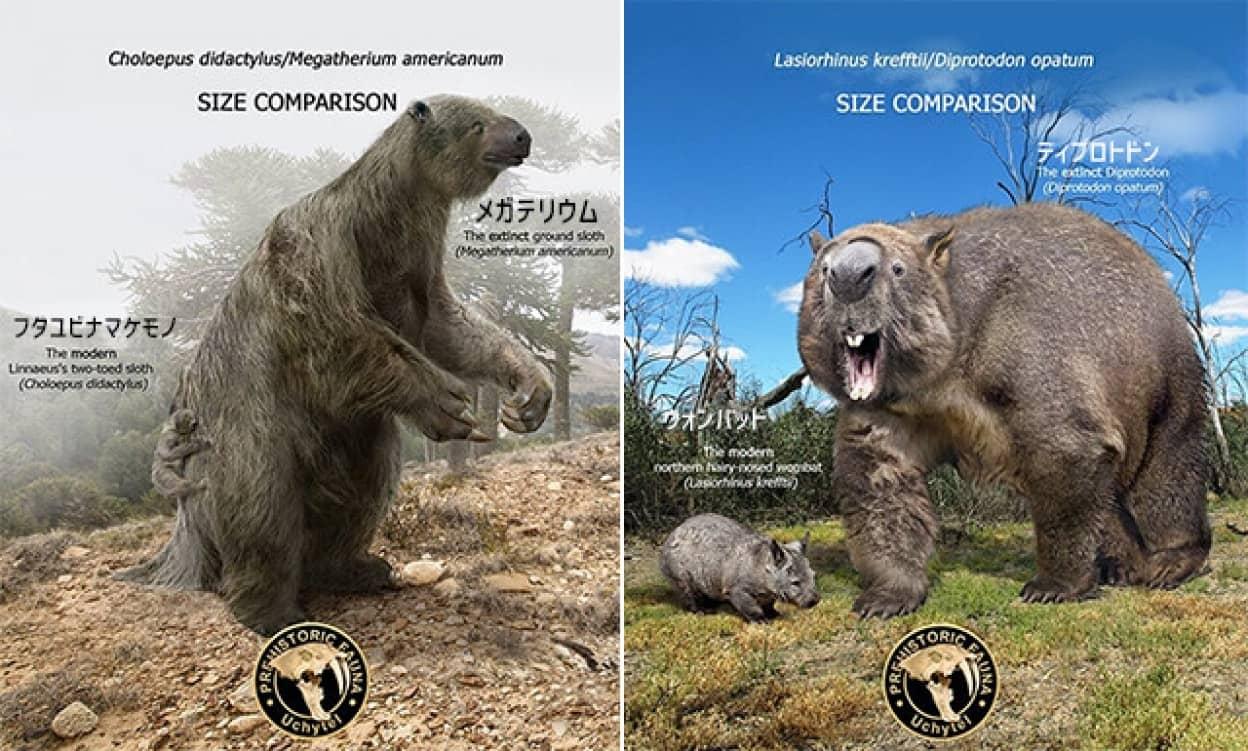 かつて地球上に存在した巨大動物と現世を生きる動物たちを比較した画像