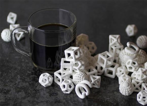 ふつくしい・・・3Dプリンターで作った角砂糖が芸術的で溶かせないよ。