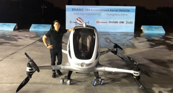 世界初のドローンタクシーのテスト飛行が行われる(中国)