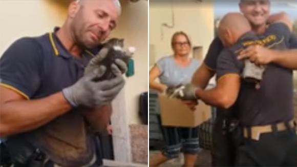 4匹の子猫すべてを火災現場から救出した消防士は、その喜びで涙を流す(イタリア)