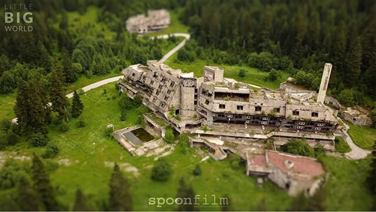 サラエボオリンピック廃墟をドローン撮影