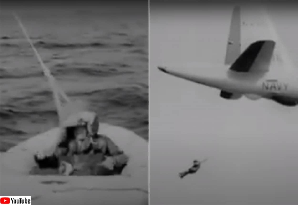 地上の人間を航空機によって回収するスカイフック