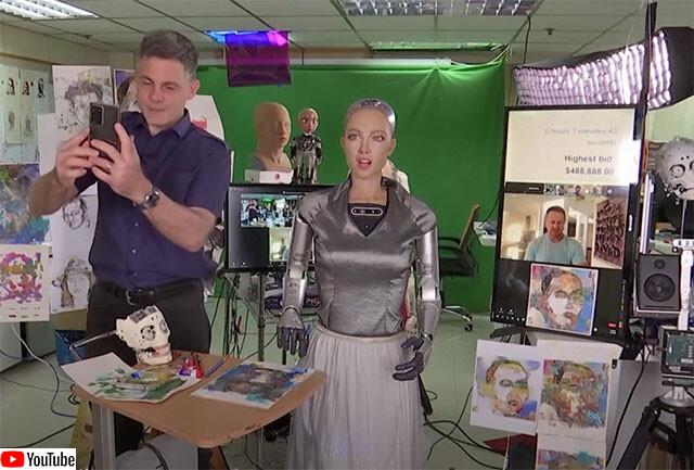 ヒューマノイドロボット、ソフィアの絵が7500万円で落札