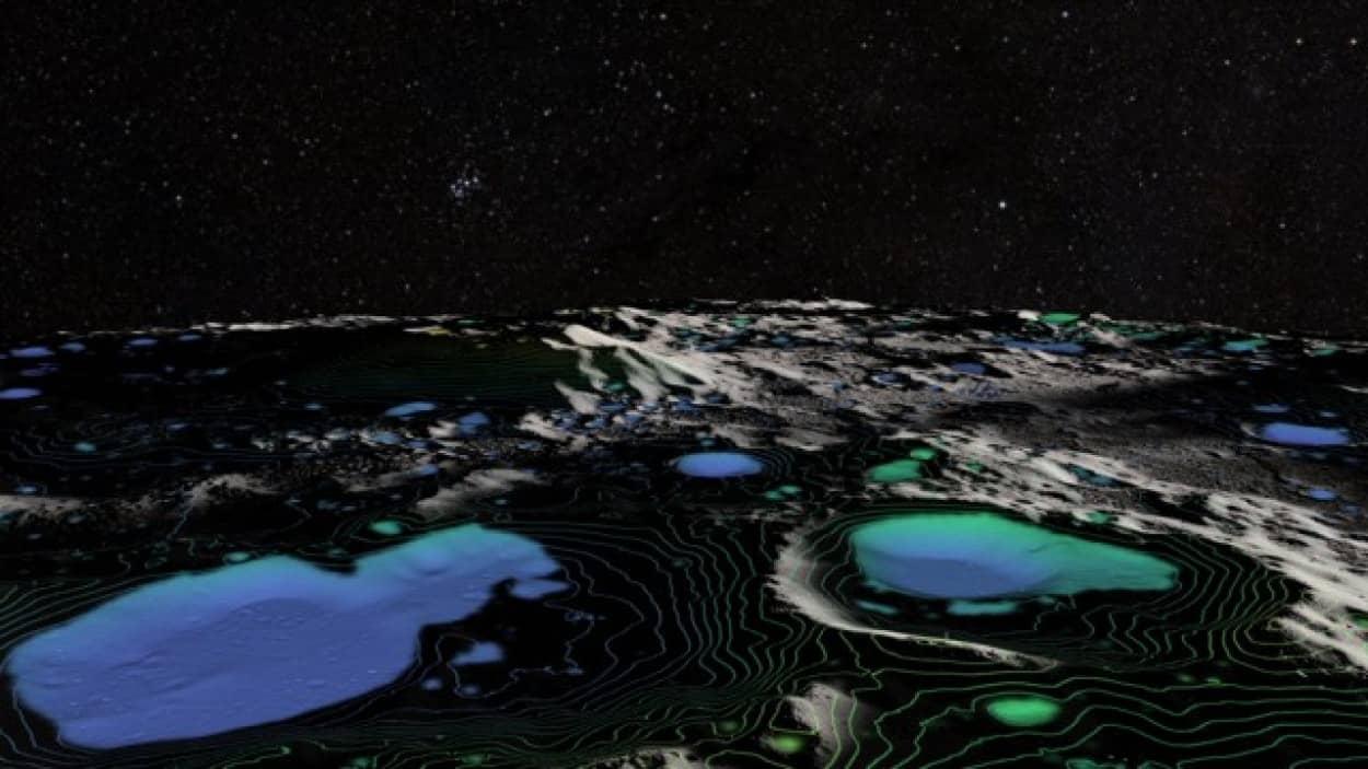 月面の太陽のあたる場所に水の存在を確認