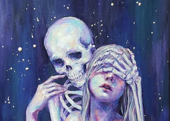 うつ病の女性がうつ病と向かい合うために描き上げた骸骨とのラブコミック