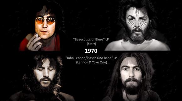 ビートルズのメンバーたちの経年変化をその当時のヒット曲に合わせてモーフィングした映像(1960-2017 )