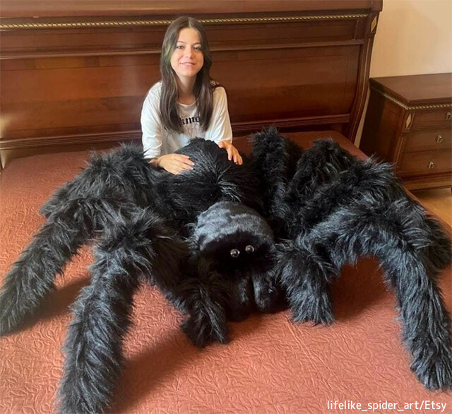 巨大蜘蛛の枕で寝れば、恐怖症も克服できるかも?色も種類も豊富に選べるモフモフ蜘蛛グッズが販売中