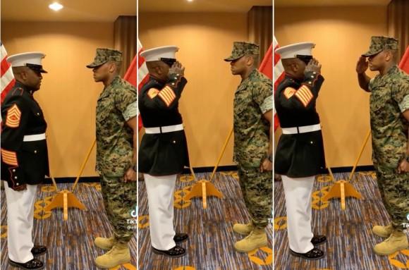 息子よ...海兵隊曹長の父、少尉に昇進した息子に初の敬礼。感動の親子愛にネットが涙(アメリカ)