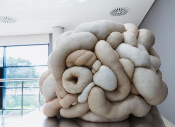 腸みたいで脳みたい。ウニャウニャの有機体っぽいアート。穴に手を突っ込み内部を探るインスタレーション作品「トルー」