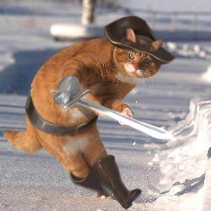 ヨーロッパ風の猫の剣士