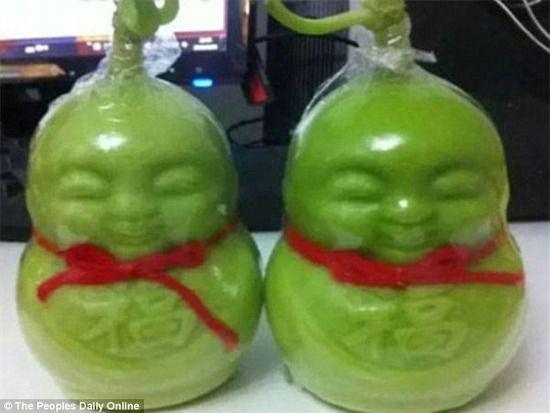 【画像】中国で売られているブッダの形のナシがキモすぎると話題にwwwwwwwwwwwww