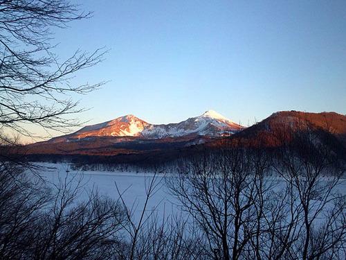 磐梯山夕焼け桧原湖0404