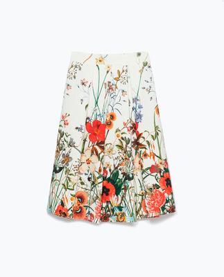 ZARA プリントギャザースカート