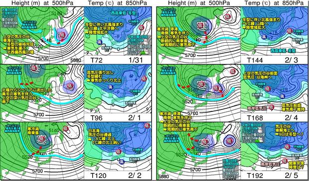 週間高層天気図200129