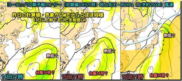 台風16号ECMWF190911