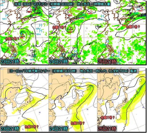 00Zベース台風GFSとECMWF比較190819