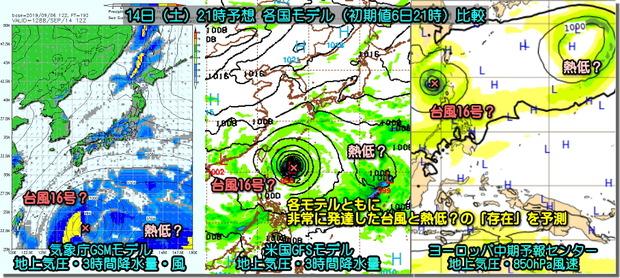 次の台風モデル比較190907