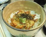 海老、アミ玉葱、花オクラのガクかき揚げのお茶漬