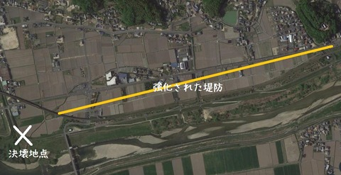 強化堤防 呉妹駅遠景