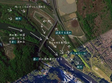 小田川合流点 g地図矢印