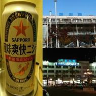 新潟駅と新潟「ビイル」