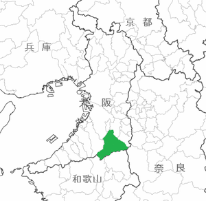 大阪府の白地図、河内長野市を緑色でマーク