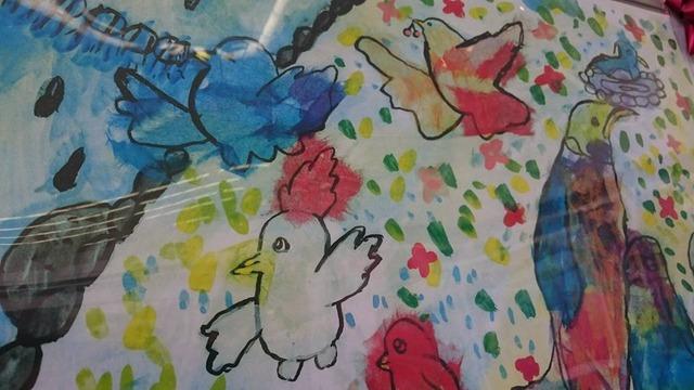 和紙を使ったちぎり絵。姉妹都市子ども絵画交換展示会にて、