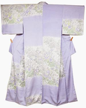 春の花図型絵染紬訪問着 岩井香楠子作