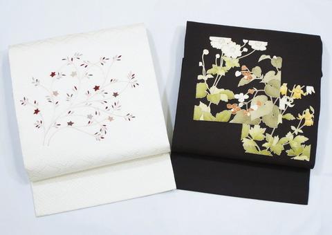 入子菱地紋絞りに手刺繍名古屋帯 銀座きしや扱、秋明菊や秋海棠友禅名古屋帯