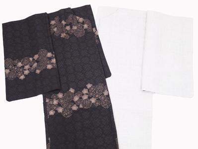 梅と桜小紋長羽織、重要無形文化財本場結城紬道中着
