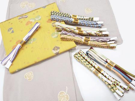 葵の図疋田模様小紋、蔓草模様名古屋帯 洛風林・帯屋捨松製、道明製 帯締