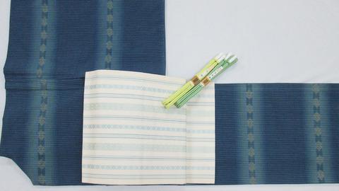 琉球美絣 木綿単衣着物、献上博多織八寸名古屋帯 人間国宝 小川善三郎作