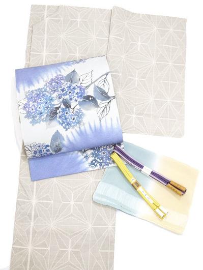 麻の葉模様絣 綿薩摩着物 東郷織物製、