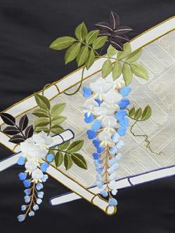 竹垣に藤の花刺繍名古屋帯地 野口