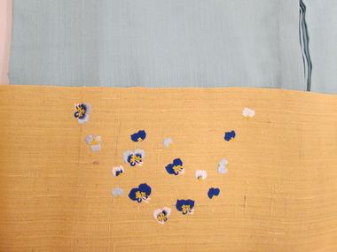 露草図刺繍九寸名古屋帯地 工芸きもの野口前柄