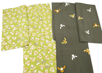 扇面に草花と小紋尽し着物 志ま亀、梅・松・橘の雀小紋 志ま亀