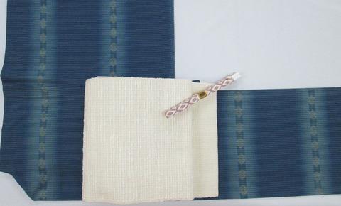 琉球美絣 木綿単衣着物、玉の節 手織紬 開名古屋帯 伝統工芸士 杉村町子作