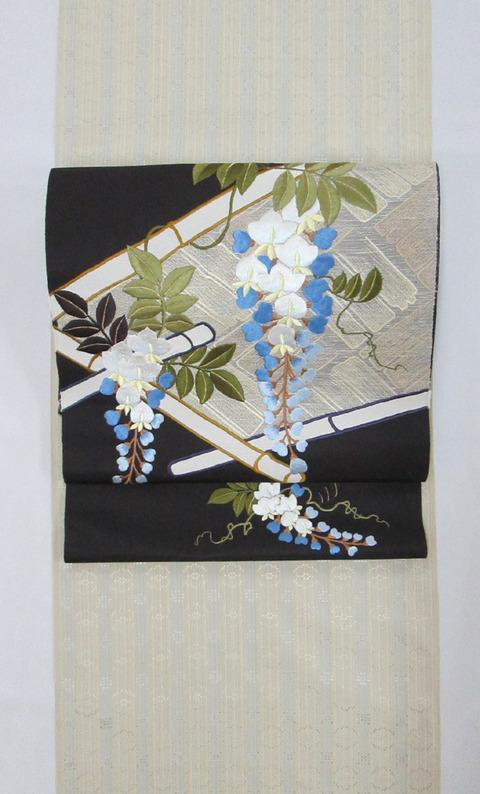 首里花織着尺 米須幸代作、藤の花刺繍九寸名古屋帯地 工芸きもの野口製