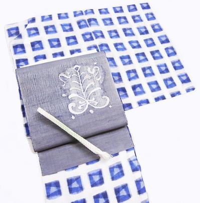 本場越後上布 四角に星絣着物、本藍すくい織八寸名古屋帯
