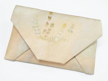 土筆とスギナ刺繍数寄屋袋