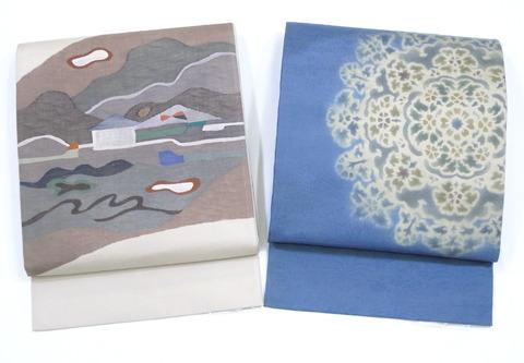 風景模様すくい織紬手機袋帯 坂下織物製、夾纈染袋帯(木屋太)