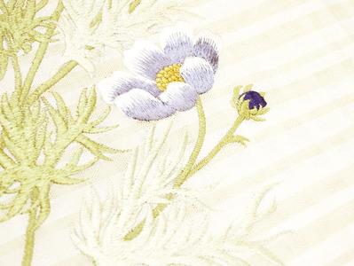 コスモスの花刺繍夏名古屋帯地 工芸キモノ野口 アップ