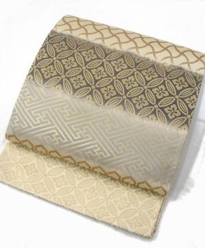 能装写段熨斗に紋織全通袋帯