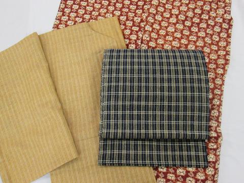 霰に縞江戸小紋紬着物、南部茜染市松に花紬着物 草紫堂製、丹波布 藍格子八寸名古屋帯